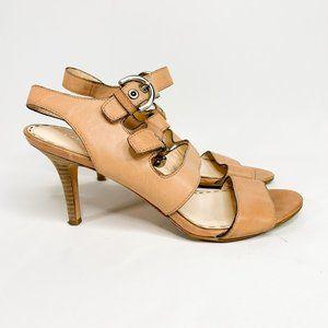 COACH Rustic Light Tan Leather Sandal Heels Buckle